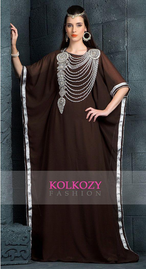 Classic Brown Color Arabic Kaftan Dress - Very Fancy Dubai Caftan Jalabiya…