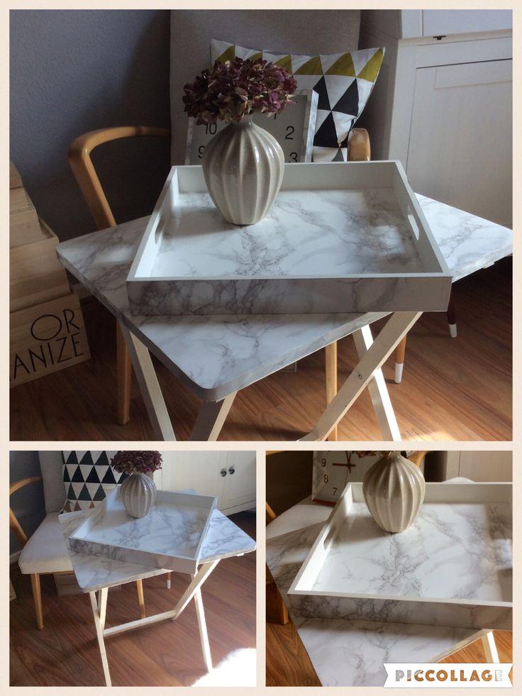 DIY: Alter Klapptisch und altes Tablett mit Marmor-Selbstklebefolie verschönert... * Marmor -Marble * ❤️