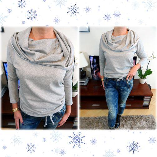 Najmodniejsza propozycja zimy 2014/2015 - mięciutka bluza z ogromnym dwukolorowym kominem.  http://allegro.pl/new-stylowa-bluza-ogromny-komin-oversize-szara-i4853033204.html Na dole wpuszczany ozdobny sznureczek, rękawy asymetryczne, całość w rozmiarze oversize. Piękny fason, wysoka jakość!  http://allegro.pl/new-stylowa-bluza-ogromny-komin-oversize-szara-i4853033204.html