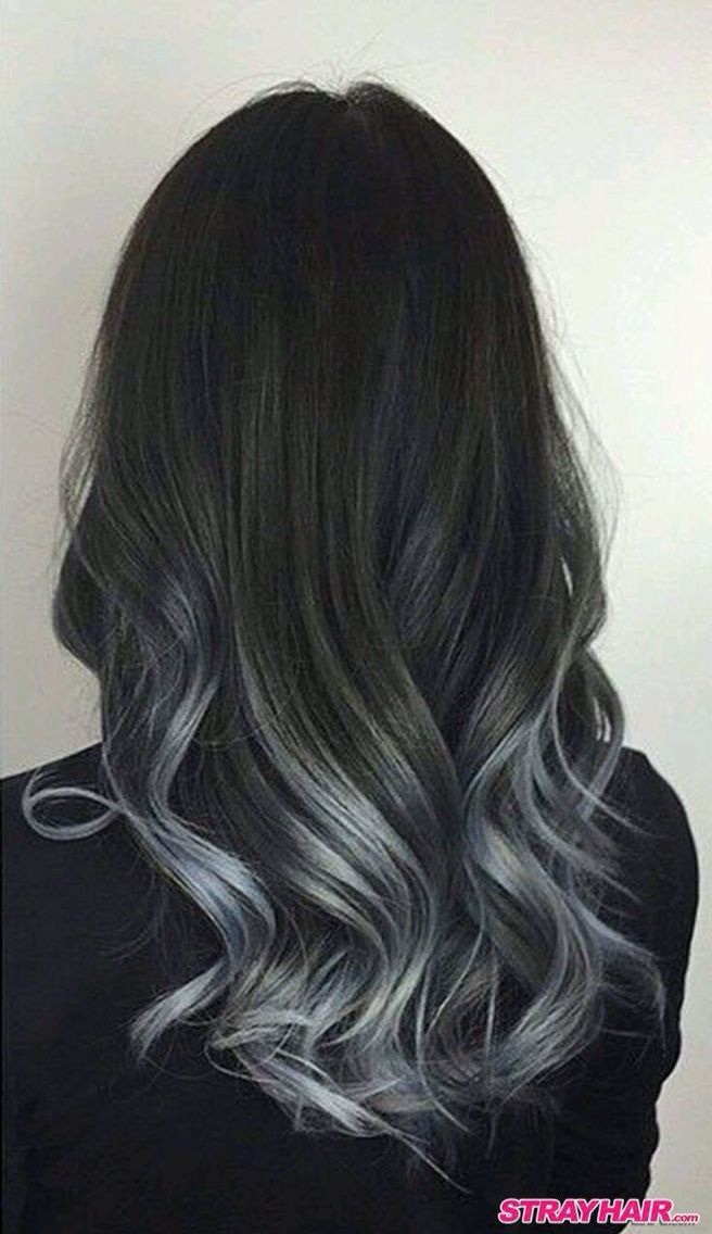 Cabello largo negro y plata