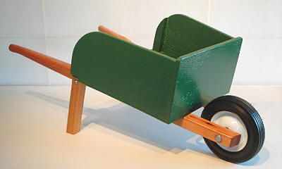 Make a wheelbarrow with your child.  Fun project to get kids excited about planting a garden.