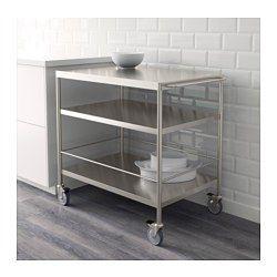 Ger dig extra förvaring i köket. Hjulen är låsbara för ökad stabilitet. Stängerna kan användas som handdukshängare eller komplettera med s-krokarna GRUNDTAL för praktisk förvaring av köksredskap.