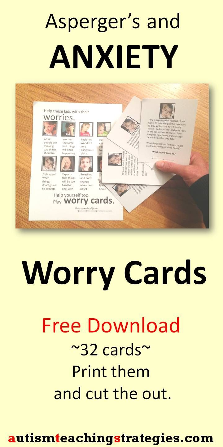 Anxiety is common in children with Asperger's and other autism spectrum disorders. Here is a set of 32 cards for you to download and cut out to play a therapy game. The cards feature eight children with different anxiety profiles. Card users identify with the children described on the cards and increase awareness. Tags: anxiety, Asperger's, social skills card game