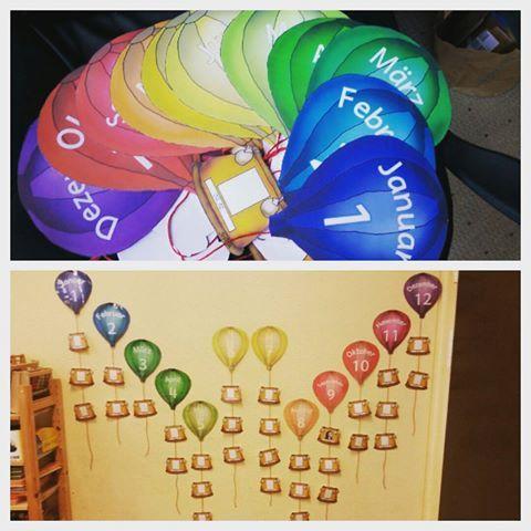 Ein toller Geburtstagskalender für die Klasse. Die einzelnen Körbe der Heißluftballons  können mit dem Geburtsdatum sowie einem Foto der Kinder versehen werden. Lieben Dank an Kerstinskrabbelwiese für dieses schöne Material.  #grundschule #unterricht #primary #geburtstag #grundschulideen #teachersfollowteachers #kerstinskrabbelwiese