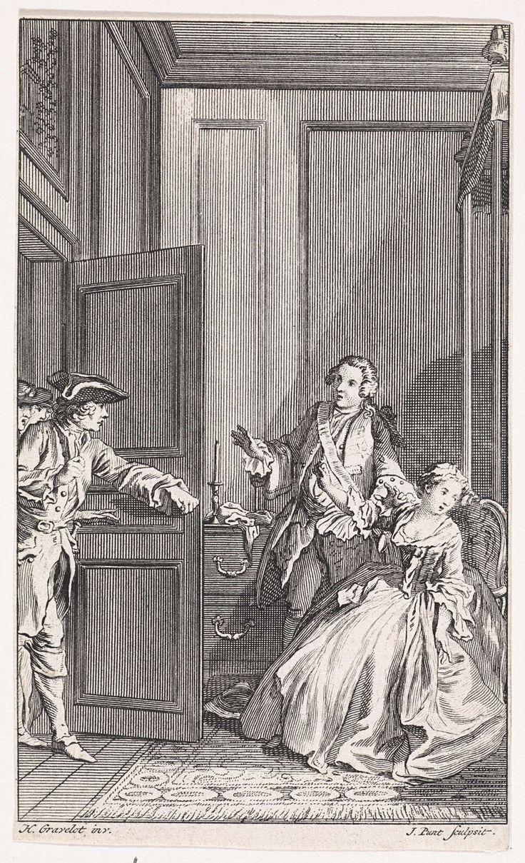 Jan Punt | Lord Fellamar bezoekt Sophia, Jan Punt, 1749 | Lord Fellamar verklaart zijn liefde aan Sophia, die in haar kamer zit te lezen. Zij is woedend en beveelt hem haar los te laten. Heer Western en zijn predikant stormen het vertrek binnen.