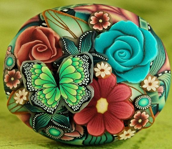 Polymer Clay Dimensional Oval Focal Bead by ikandiclay on Etsy, $18.00
