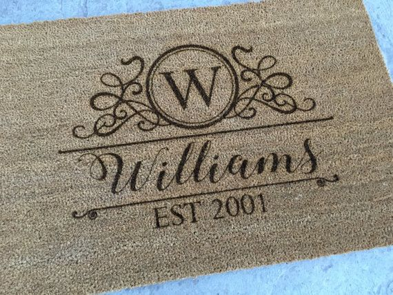 Personalized Welcome Mat Monogram Door Mat by subculturegiftshop
