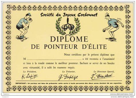 Pétanque : Diplome De Pointeur D´Elite - Sociètè Du Joyeux Cochonnet - Illustrateur : Dessin De R. Allouin - Pétanque
