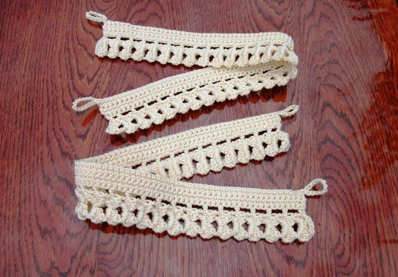 Crochet curtain ties Curtain tie backs Set of two curtain tiebacks Curtain holders Curtain drapery Curtain holdbacks Lace beige curtain ties