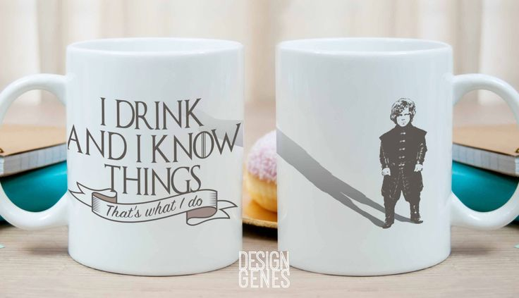Tyrion Lannister mug, Game of Thrones mug, I drink and I know things, GOT fans gift, game of thrones gift, gift for him, gift for her by DesignGenesStudio on Etsy