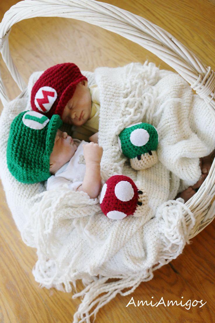 Newborn Crochet Super Mario Twin Photo Prop Set by AmiAmigos, $52.00