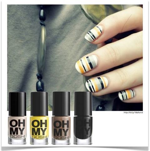 Fun manicure - striped nails ;)  #OhMyGosh in Nude Champagne, #OhMyGosh in Bright Yellow, #OhMyGosh in Brown Grey and #OhMyGosh in Black is Black