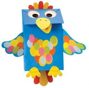 paper bag parrot craft