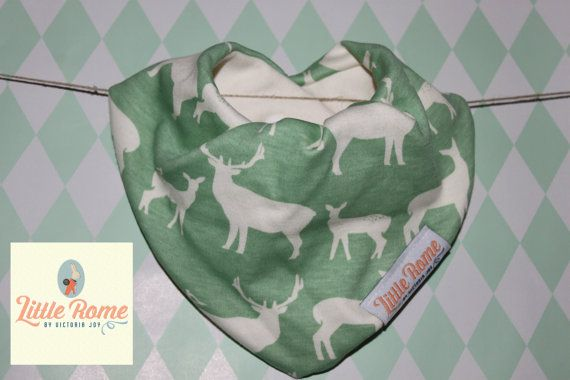 Little Rome's super absorbent 100% Organic cotton and bamboo pleated dribble bibs. Green Deer  One size. 0-5 years