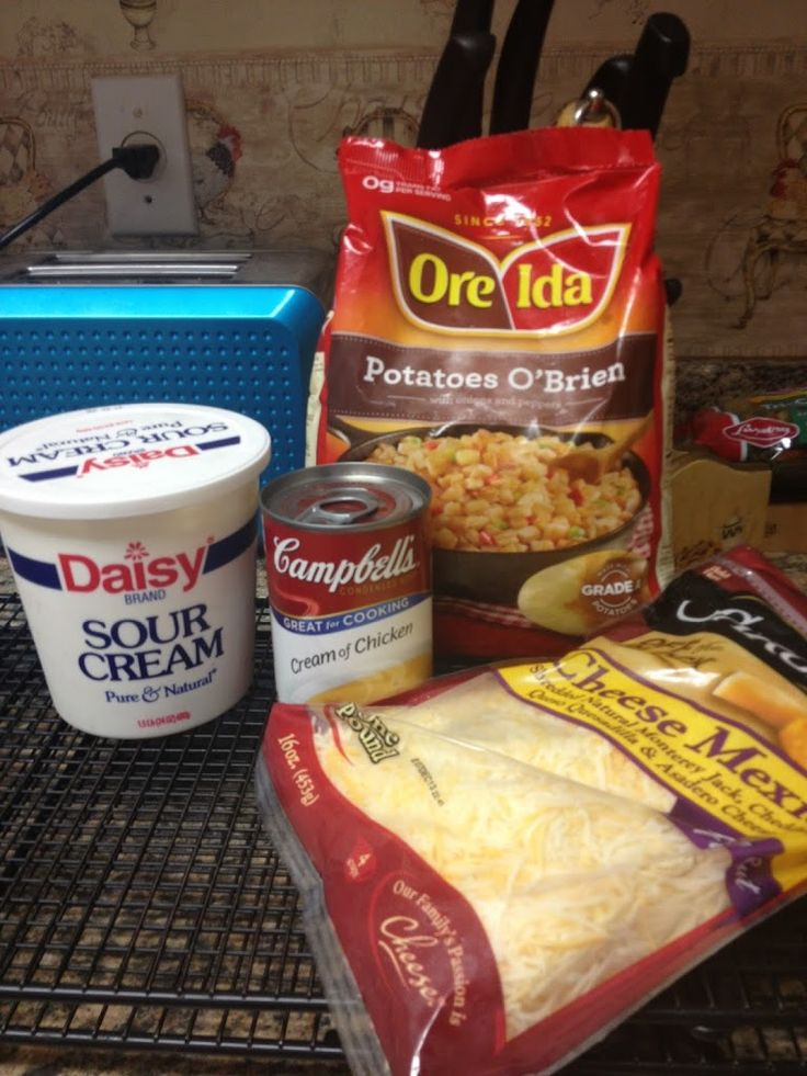 We made this recipe for a brunch we catered this weekend and it was a huge hit! It was the first time I have used the Potatoes O'Brien containing onions and peppers–I believe it was much better than the traditional shredded potato casserole.  Hope you enjoy! Creamy Potato O'Brien Breakfast Casserole 1 bag Ore …