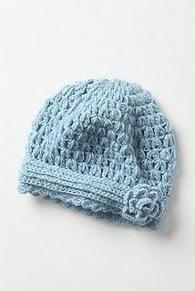 Antropologie inspired corcheted hat.  Love this pattern!!  Crochets up quick and is adorable!