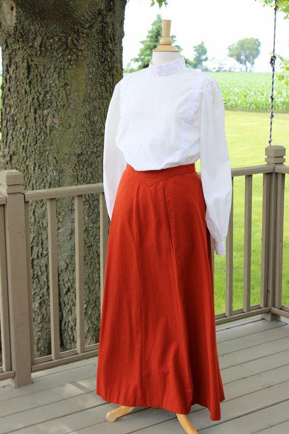 Wool Long Skirt Western Edwardian 1900s Anne Of Green