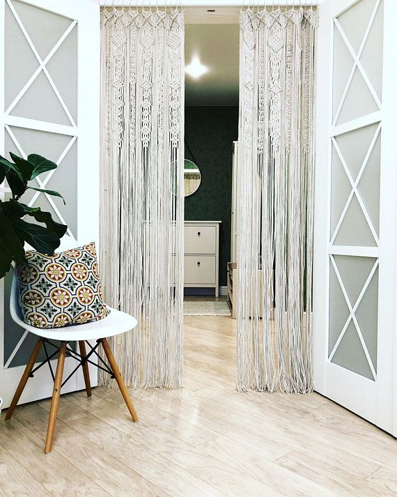 Large Macrame Door Curtains Of 2 Or 1 Panels Crocheted Entry Etsy Macrame Door Curtain Door Curtains Macrame Curtain
