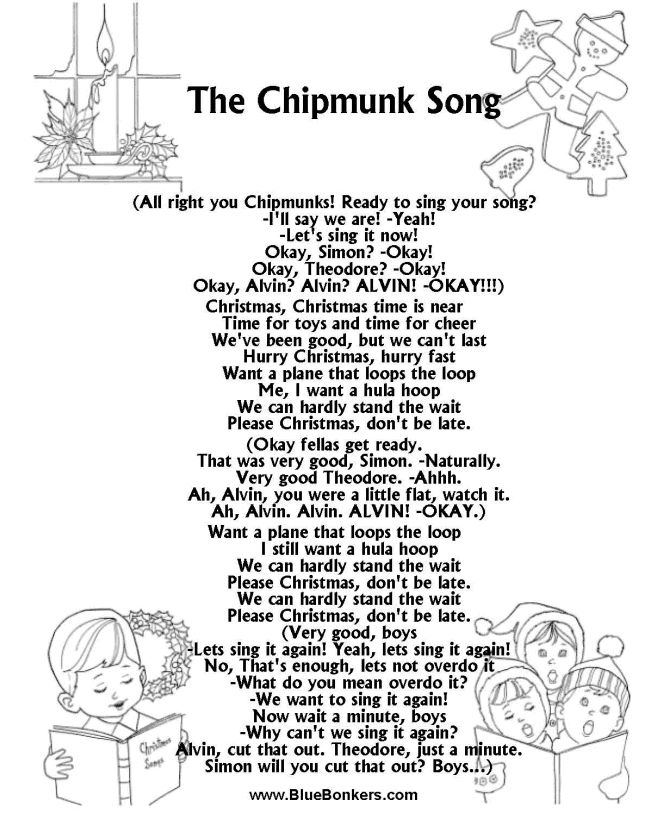 BlueBonkers: The Chipmunk Song, Free Printable Christmas