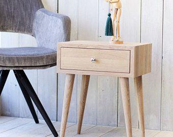 Mesita de roble sólido con cajón mediados siglo muebles mesita de noche escandinavo estilo muebles modernos del dormitorio ALD-0002NO