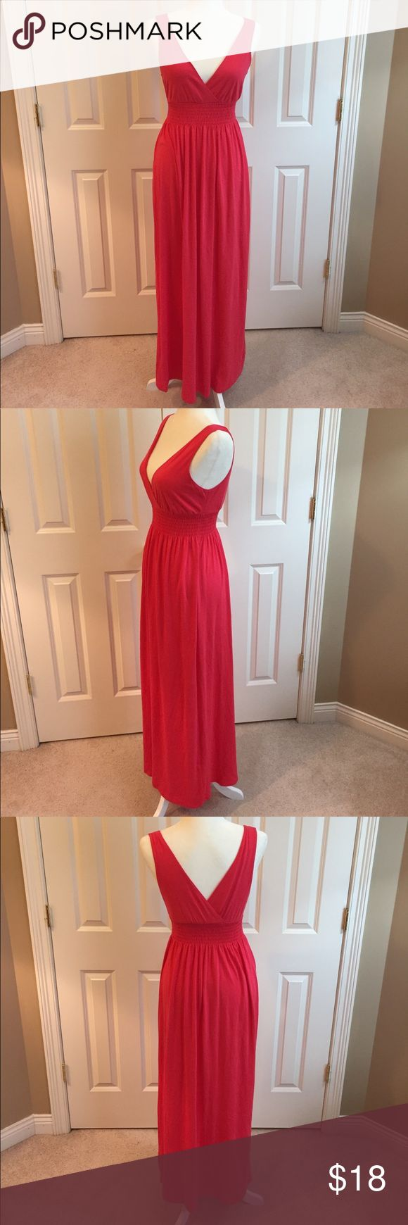 """Old Navy Maxi Dress Gorgeous pink Maxi Dress with a gathered waistline and wrap style bustline. Approximate Flat measurements are armpit to armpit 15"""", waist 12"""" (both have stretch room). Shoulder to hem is 55.5"""". Excellent, like new condition. Happy to answer questions! Old Navy Dresses Maxi"""