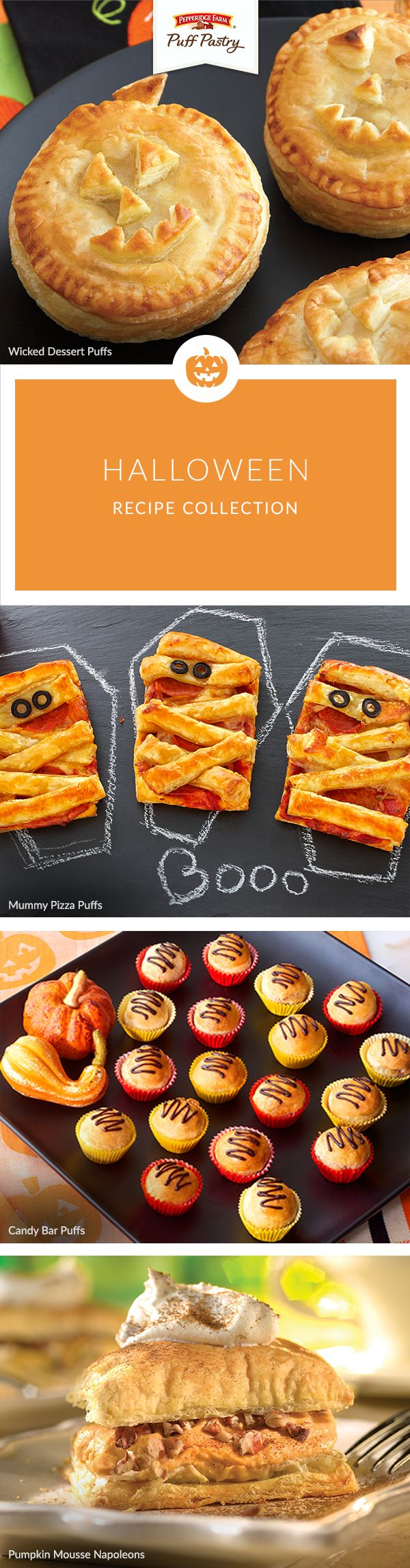 Scare up some fun with these spook-tacular Puff Pastry Halloween recipes. Party guests will have a frighteningly good time devouring Wicked Dessert Puffs, kids will love Mummy Pizzas before trick-or-treating and don't miss the recipe for Candy Bar Puffs (perfect for those leftover bags of candy!)