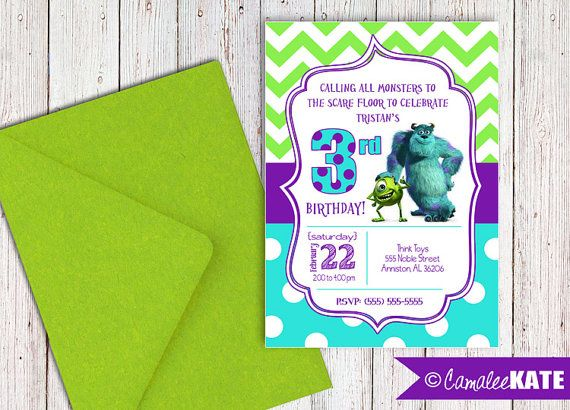 32 best birthday invitations images on pinterest birthday items similar to monsters inc birthday party invitation personalized digital printable card file mike sulley on etsy filmwisefo