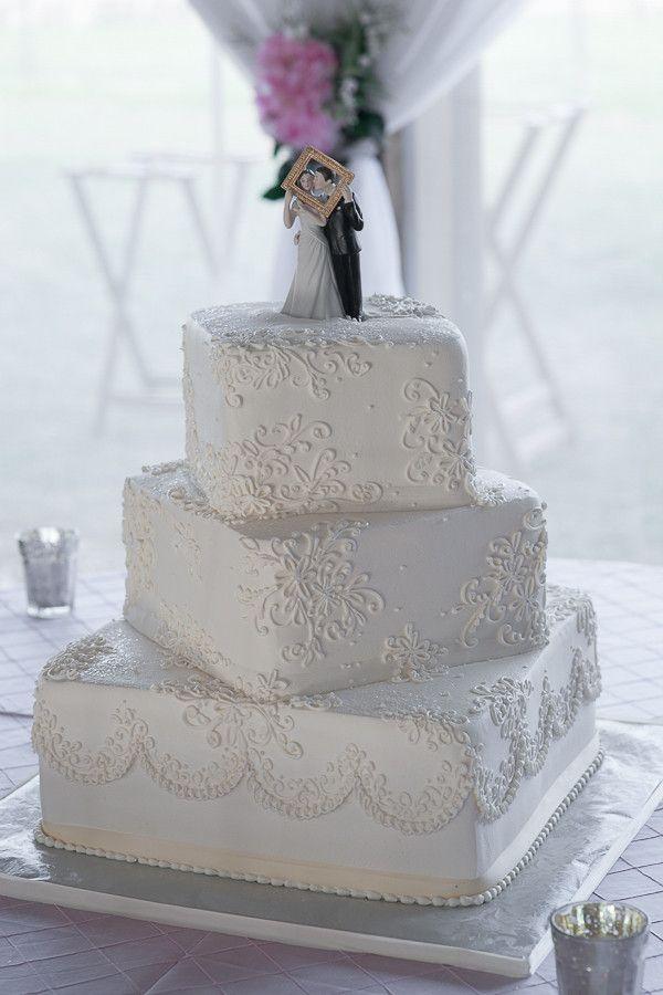 White Square Wedding Cake - Pink & Silver Rustic Country Wedding - Plant City Wedding Photographer Jeff Mason Photography