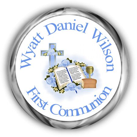 Blue Bible Chalice Personalized First Holy Communion Hershey Kisses Labels