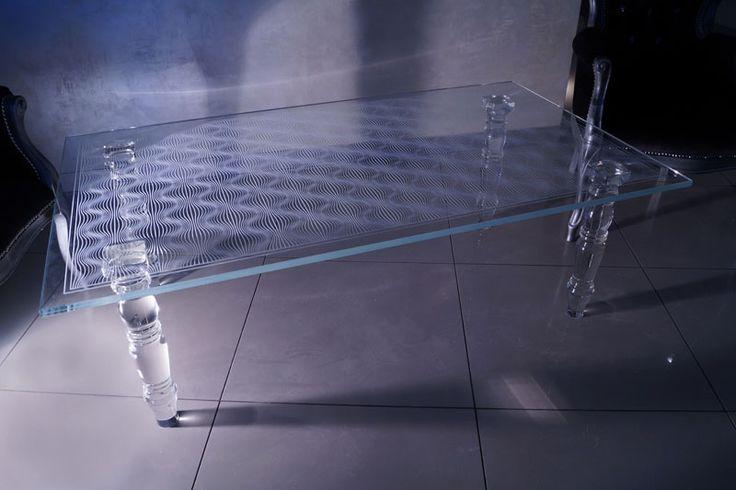 стеклянный стол Tb-03 - Шкло-Люкс Ярослав Фрончак - лазерная 3d гравировка внутри стекла