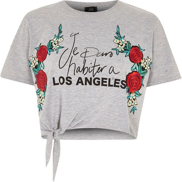 River Island Petite grey 'Los Angeles' cropped T-shirt ($40) ❤ liked on Polyvore featuring tops, t-shirts, petite tops, grey t shirt, tall t shirts, embroidered t shirts and print t shirts