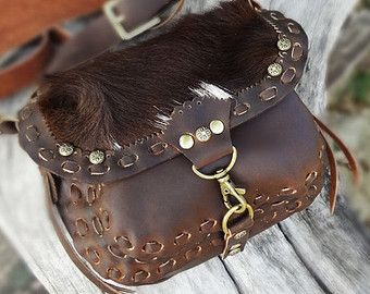 Leather Hand Bag Cow Hide Bag Brown Leather Bag by HolyCowproducts