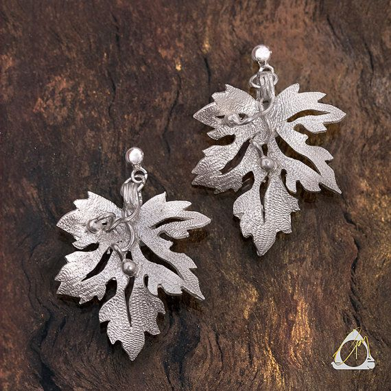 Hand carved and hammered silver nature drop stud leaf earrings