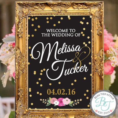 Gold Confetti BLACK Wedding Welcome Sign  Gold by BeauTiedAffair