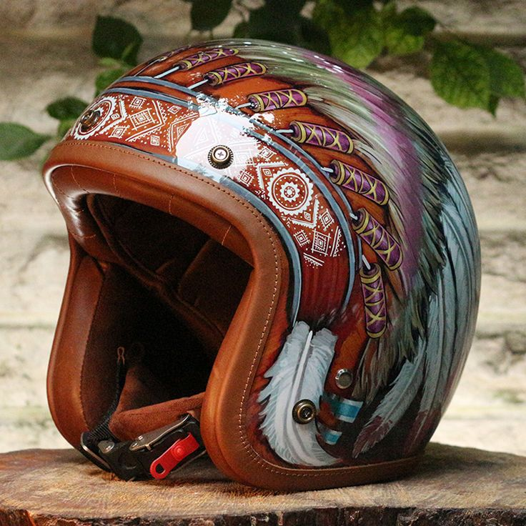TM Airbrush 3/4 Open Face Motorcycle Helmet DOT Indian