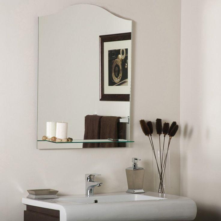 Décor Wonderland Abigail Modern Frameless Bathroom Mirror with Shelf   from hayneedle.com