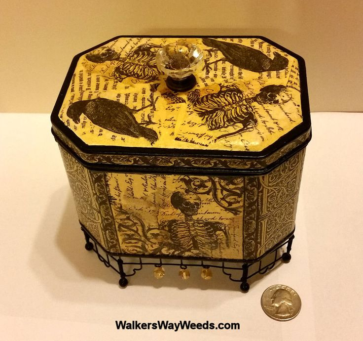 Skeleton Chest-Reliquary Tin-Decoupage napkin-handmade from recycled materials-OOAK by WalkersWayWeeds on Etsy