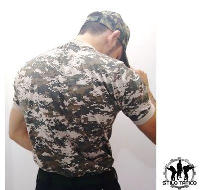 Camiseta Camuflada Digital Areia Confecionada em malha 100% Algodão  - Reforço na gola - Punhos com ribana