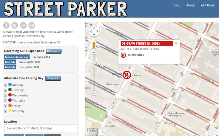 Street Parker Helpful Parking Map All Things Nyc