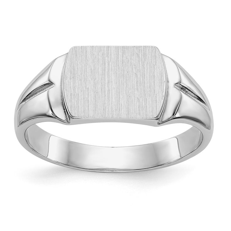 14k White Gold Mens Signet Ring D1841