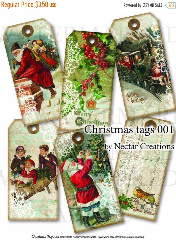 ON SALE Christmas tags vintage Printable by NectarsCreations