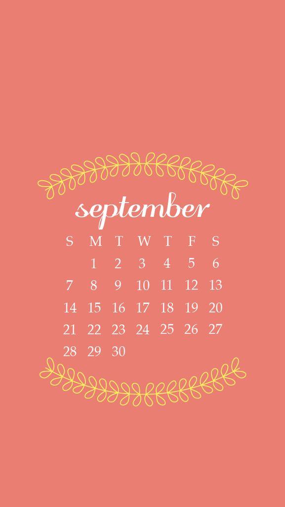Peach Coral Wreath Vines September Calendar Iphone Wallpaper Lock Screen Phone Background