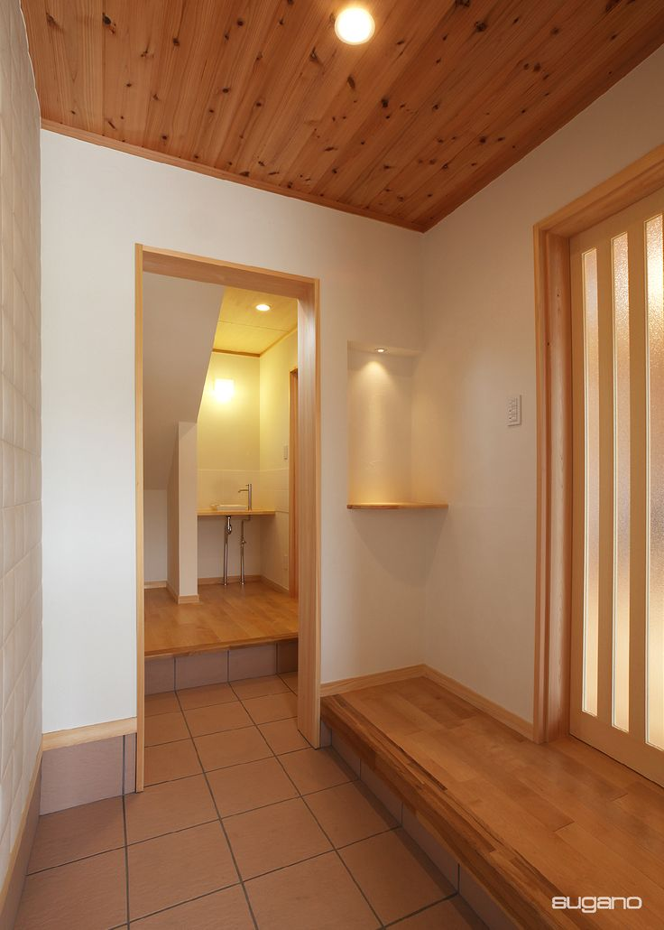 玄関の横にはすぐ手洗い場。#和風玄関 #和風住宅 #玄関 #SCL #設計事務所 #菅野企画設計