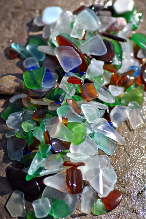 beach glass...used to be easy to find...now everything comes in a plastic bottle or a can.