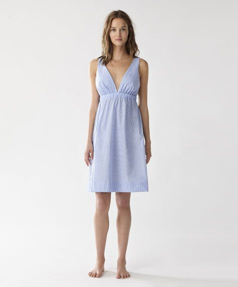 Striped cotton nightdress -  | Oysho