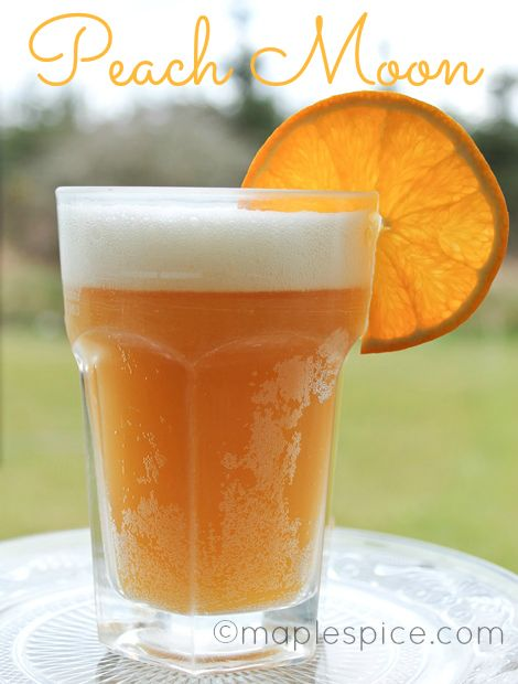 Peach Moon - Blue Moon beer, peach schnapps and orange juice. Perfect for summer around the pool.