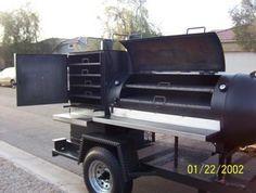 2011 Large BBQ Smoker, Trailer: 5/14/2011 (Mesa, Arizona) - BBQ smoker/trailer:  Custom-built smoker and rib box, unique design, reverse flow, 39.6 sq. ft. of cooking space, two shelves