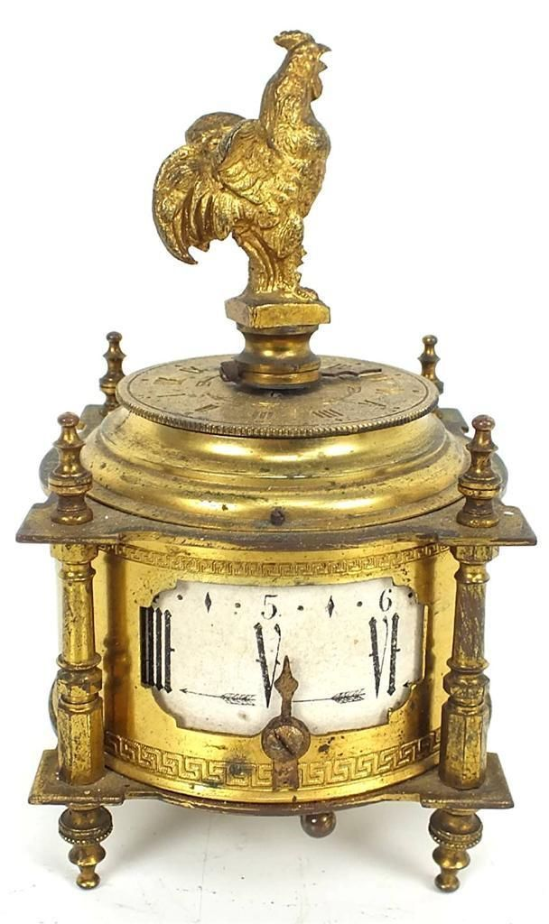 Rare Antique Farcot figural cockerel alarm mantle clock bedside gilt table clock.