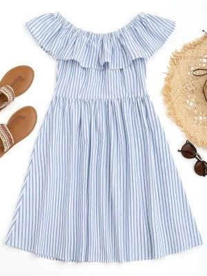 Off Shoulder Ruffles Striped Beach Dress - Blue And White S