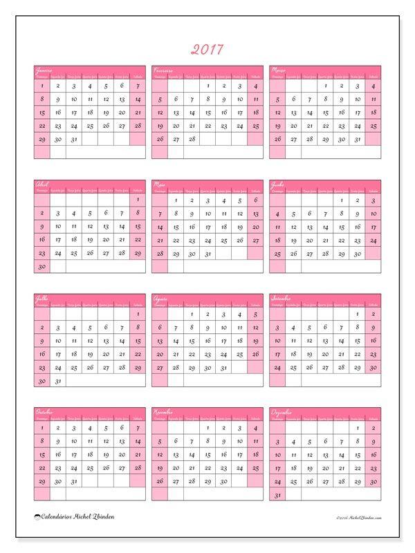 2017para imprimir, livre. Calendário anual : Renatus (D). A semana começa no domingo